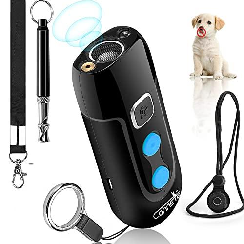 connete Dispositivos ultrasónicos para disuadir ladridos de Perros, Dispositivo de Entrenamiento de ladridos para Perros Recargable, repelentes sónicos Seguros para Perros y Silbato para Perros
