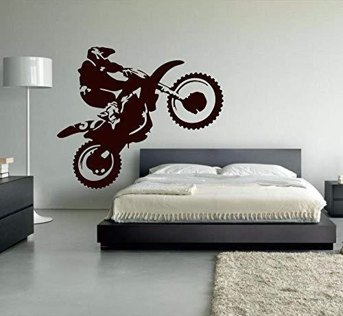 Motocross Vinilo Pared Pegatina Motocicleta Moto Pared calcomanías hogar calcomanía para Sala Dormitorio decoración Suciedad Bicicleta 56x65 cm