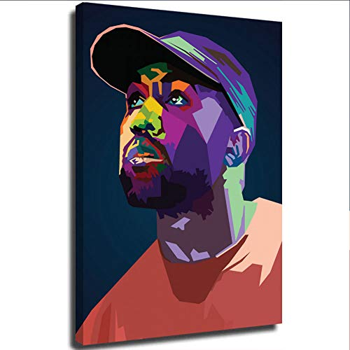 Hiphop Rapper Kanye West WPAP Pop Art Canvas Art Wall Decor 12'X16' Wall Art Prints and Posters for Bedroom, Framed/Ready to Hang