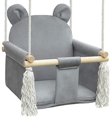NATILU Babyschaukel Kinderschaukel Teddybär (Teddybär Grau)