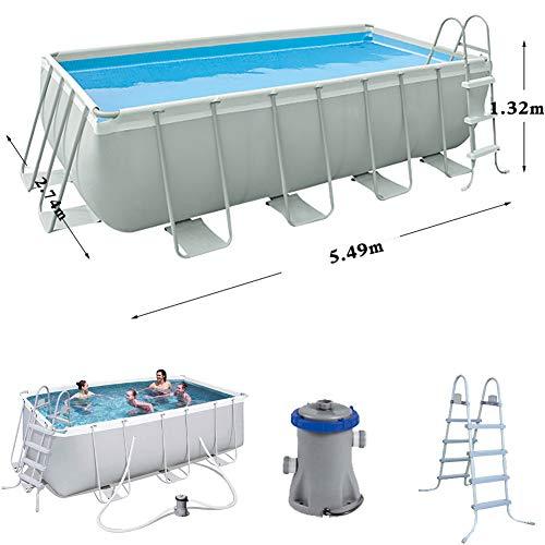 DDSGG Steel Pro Frame Pool Stabiler und leicht aufbaubarer Familienpool Outdoor Badespaß Stahlrahmenpool-Set mit Filterpumpe,549x274x132cm