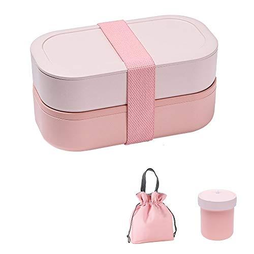 Box 1200ml, Doble Capa, Lonchera Box Food Box, Muy Adecuada para Almuerzos Y Meriendas para Niños Y Adultos (Color : Pink)