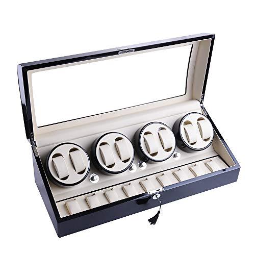 udgtee XTELARY Luxury 8+9 Automatic Rotation Black Wood Leather Watch Winder Storage Display Case Box 4 Motor (R4892B)