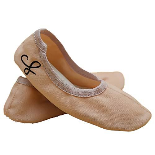 Siegertreppchen® Turnschläppchen Stoff (Größe 36) Rosa | Gymnastikschuhe für Damen & Herren | Ballettschuhe atmungsaktiv & rutschfest