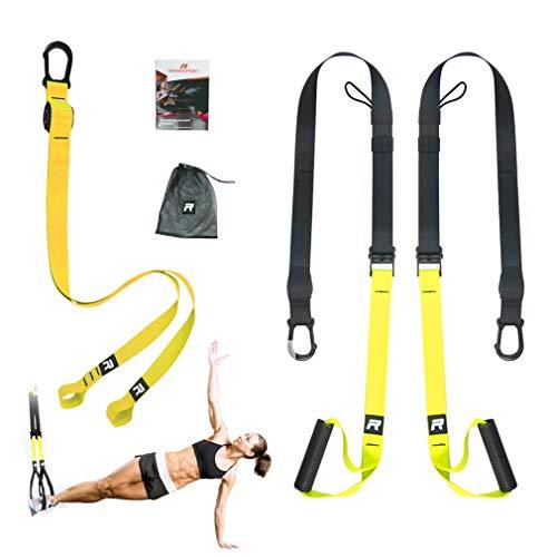 RHINOSPORT Schlingentrainer Sling Trainer Set mit Türanker Einstellbar Fitness Zuhause Suspension - geeignet für unterwegs und für das Training im Innen