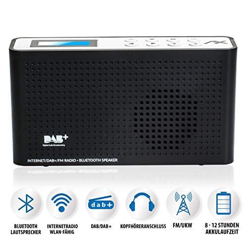 Anadol AX 4in1 soundpath lite+ Internet Radio/DAB+ / FM-UKW/Bluetooth Lautsprecher WLAN WiFi, DLNA, UPnP, tragbar, LCD-Display, Sleep-Timer, Akku, Netzbetrieb, Kopfhöreranschluss, schwarz weiß