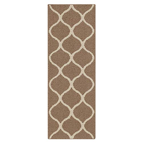 "Maples Rugs Rebecca Contemporary Runner Rug Non Slip Hallway Entry Carpet [Made in USA], 1'9"" x 5', Café Brown/White Minnesota"