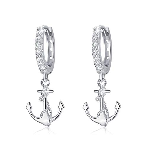 Kette Damen Anker Creolen Ohrringe 925er Sterling Silber Schmuck Ohrringe für Damen Winzige Creolen für Mädchen Unisex Geschenk für Frauen Mädchen Freundin Geschenk-Box