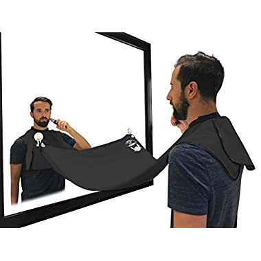 Beard Bib, Beard Hair Catcher, Beard Cape Apron for Shaving and Grooming with Suction Cups for Mirror. Black, By Captain Jax