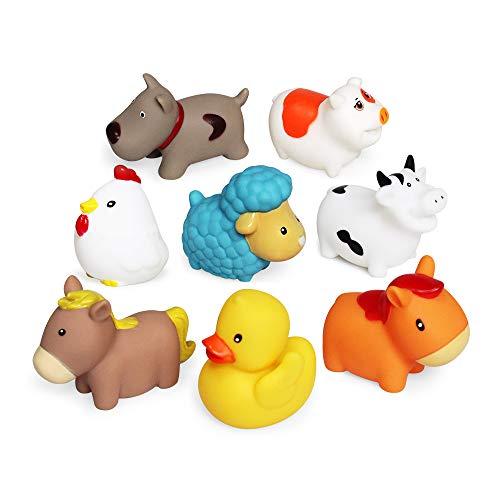 JUNSHEN Juguetes de baño Flotante (8 Piezas),Juguetes de baño Suave Bañera Aprendizaje Perros Patos Ovejas Gallina Cerdo Juguetes de baño Y Juguetes de baño para niños pequeños.