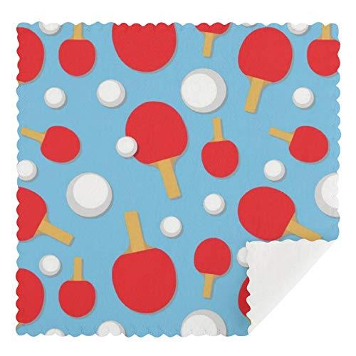 Juego de 2 toallas de cocina reutilizables, diseño de murciélagos de tenis de mesa y bolas en azul claro, absorbentes, lavables a máquina, paños de cocina y barra