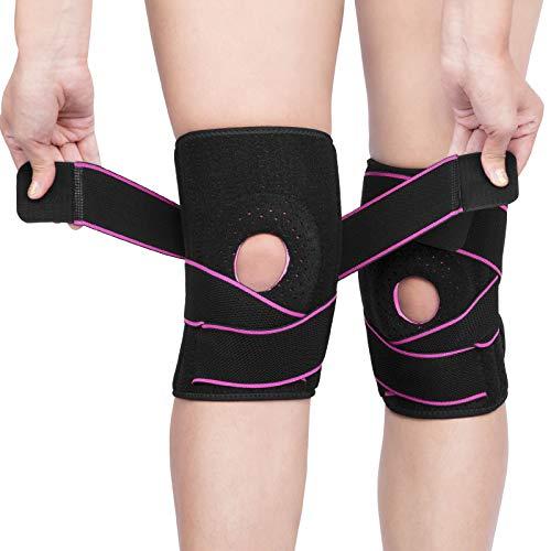 AVIDDA Kniebandage,2 Stück Open Gel Patella Kompression Knieschoner,rutschfeste Einstellbar Atmungsaktiv Unisex Knieorthese,Für Basketball und mehr Sport(Rosa 1)