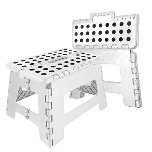Oramics Klapphocker faltbar – 29 x 22 x 22 cm belastbar bis 100 Kg – praktischer Kunststoff Tritt-Hocker Klapptritt Trittleiter klappbar (Weiß)