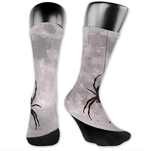Unisex Performance Cushion Crew Socks Calcetines de Tubo Round Moon Spider New Middle High Calcetines Sport Gym Socks