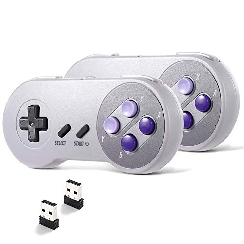 suily 2 Pack Wireless USB Controller for SNES NES Emulator, 2.4GHz USB Gamepad Classic Game Controller Joypad for Windows Laptop PC Mac Raspberry pi System