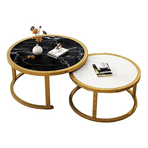 Outdoor product Tavolini da Soggiorno Design in Set da 2, Tavolinetto da Salotto Moderno per Divano,Tavolino Rotond,Set di Tavolini Rotondi da Salotto per Soggiorno,P70xH45cm+P50xH38cm