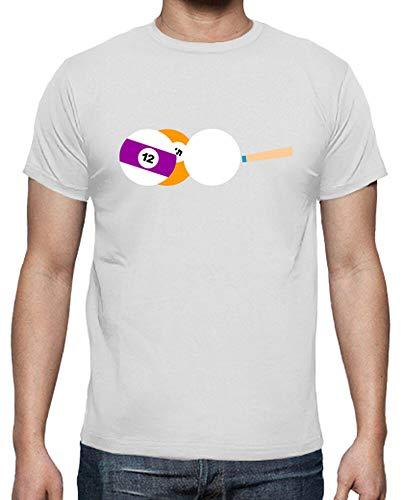 latostadora - Camiseta Juego Billar para Hombre Blanco L