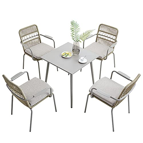 Outdoor Patio Furniture Sets, 5-piece braided rope Garden combination chair sets with Aluminum square table All-Weather patio Conversation chair