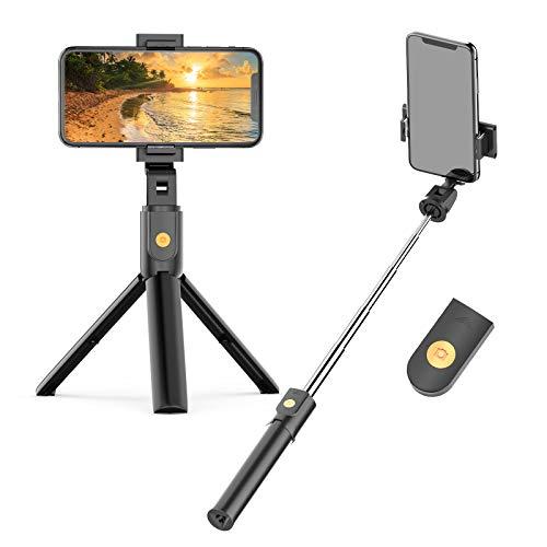 Soft Digits Selfie Stick Stativ, Bluetooth 3 in 1 Erweiterbar Monopod Wireless Selfie-Stange Stab 360°Rotation mit Bluetooth-Fernauslöse für iPhone Android Samsung