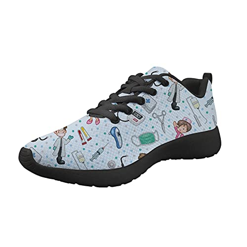 HUGS IDEA Zapatillas deportivas deportivas para correr, con absorción de golpes, con estampado de flores, Enfermera azul, 34 1/3 EU