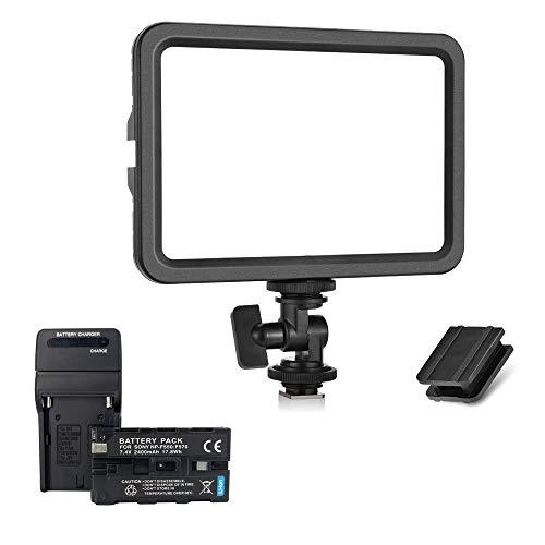 koolehaoda 204 Luz de Relleno de Video LED Portátil, batería y Cargador de 2400 mAh, Panel de iluminación de fotografía en cámara Bicolor 3300-5600K Brillo Regulable(LED-204)