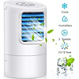 Air Conditioner Fan, Small Desktop Fan 3 Degree Changeable Angle Adjustable Compact Super Quiet Personal Table Fan Mini Evaporative Air Circulator Cooler Humidifier