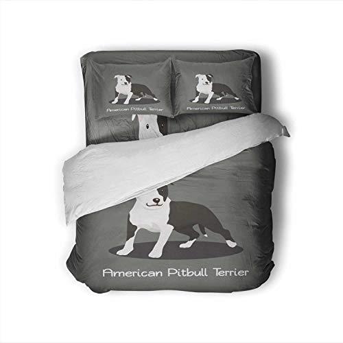 C COABALLA n Pitbull Terrier pet Cartoon Graphic Design,Full Size Cotton Sateen Sheet Set - 4 Piece - Supersoft Full