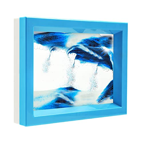 Dynamic Blue Sand Art Picture, Moving Sand Pictures Liquid Motion Art, Moving Sand Art Frame for...