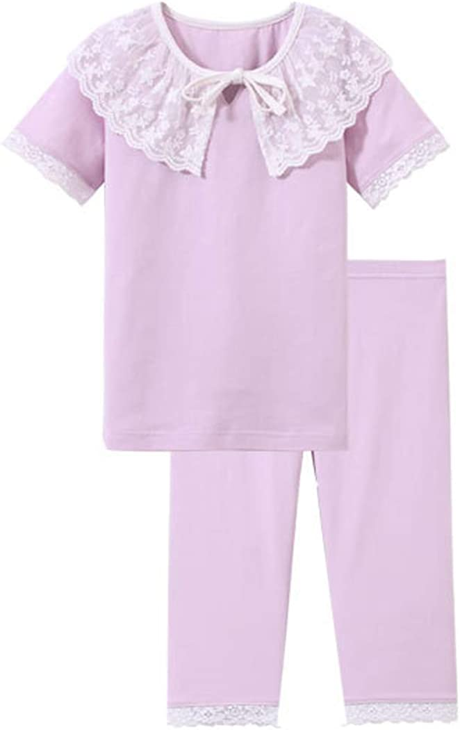 Little Big Girls Two Piece Outfit Spring Summer Home Wear (Purple 10-11Y)