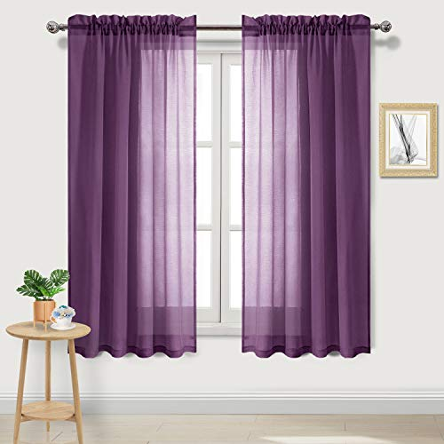 DWCN Purple Sheer Curtains Semi Transparent Voile Rod Pocket Curtains for Bedroom and Living Room, 52 x 63 inches Long, Set of 2 Panels