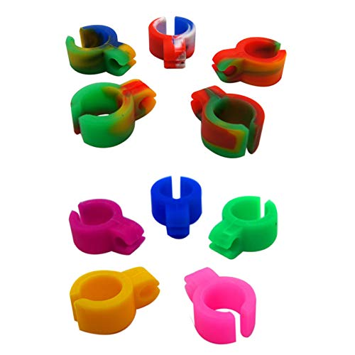 10 Pieces Cigarette Holder Ring Hands Free Smoking Ring Silicone Cigarette Ring Hands Free for Console Gamers Guitar Players and DriverRandom Color