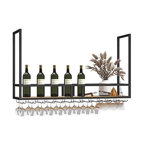 WWJ Botelleros de Hierro Metálico para Bares Soporte de Copa de Vino Colgante de Altura Ajustable, Vaso para Colgar en el Techo de Metal Colgador para Copas de Vino Organizador Estante