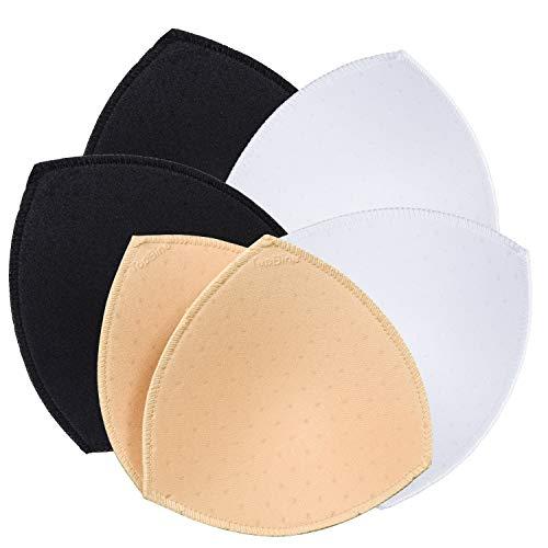 TopBine 3 Paare BH Pads Bikinis Pad Bra Einlagen Push- up Pad, Herausnehmbaren Sport BH, Dreieckige Form (3 Farben)