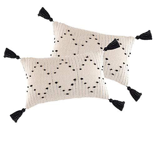 Juego de 2 fundas de cojín con borlas de 30 x 50 cm, fundas de almohada con cremallera invisible, geométrica decorativa para el hogar, sofá, restaurante, cama, color blanco y negro