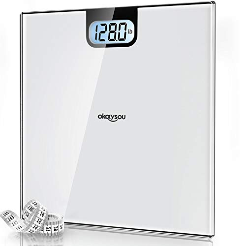 Okaysou Accurate Digital Bathroom Body Weight Scale, All-New Weight Scale with 3.6' Large Backlit LCD Display, 6mm Tempered Glass, Body Tape Measure, Step-on Technology, 400lbs