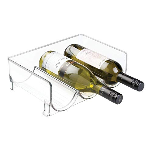 mDesign Modern Plastic Stackable Vertical Standing Wine Bottle Holder Stand