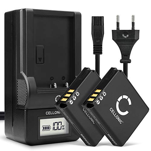 CELLONIC® 2X Batería de Repuesto CGA-S005 DMW-BCC12 per Panasonic Lumix DMC-LX3 LX1 LX2 LX9 DMC-FX01 FX07 FX8 FX9 FX10 FX12 FX50 FX100 FX150 1150mAh + Cargador DE-A11B DE-A12 Accu Sustitución Camara