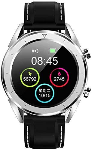 Reloj Inteligente de los Hombres IP68 Impermeable USB Carga Control Inalámbrico Reloj de Pago ECG Monitor de Ritmo Cardíaco Pulsera Pulsera Inteligente Reloj Deportivo-Blanco
