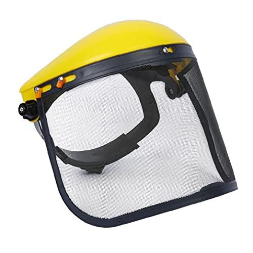Ohomr Malla de Seguridad Visor, la Cara Llena de Protección Escudo, Casco de protección Superior para la Silvicultura cortadora de césped Amarillo