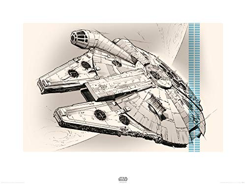 1art1 Star Wars - El Despertar De La Fuerza Episodio VII, Halcón Milenario Dibujo Póster Impresión Artística (80 x 60cm)
