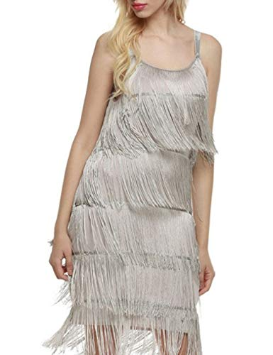 ECDAHICC Women's Dresses Flapper Dresses 20s Gatsby with All-Over Fringe Mini Dresses(GY-XL) Gray