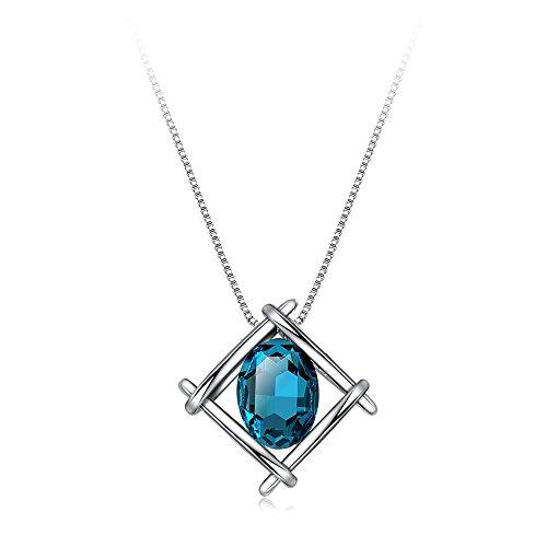 IUHA 【印象-美結晶】 ネックレス 人工宝石 (サファイア)
