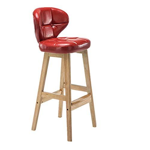 YZT QUEEN Creatieve lounge bar stoel, retro bistro massief hout bar stoel, hoge kruk, effen kleur massief hout beugel en PU lederen mat, geschikt voor bars, restaurants en cafés