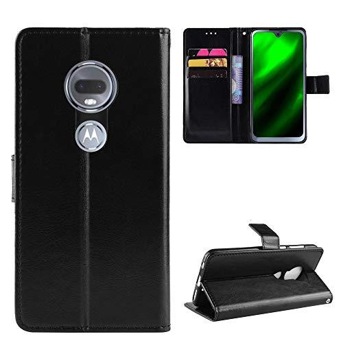 LODROC Moto G7Play Hülle, TPU Lederhülle Magnetische Schutzhülle [Kartenfach] [Standfunktion], Stoßfeste Tasche Kompatibel für Motorola Moto G7 Play - LOBYU0300852 Schwarz