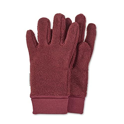 Sterntaler Fleece-Fingerhandschuhe mit elastischem Umschlag, Alter: 5-6 Jahre, Größe: 4, Dunkelrot