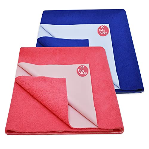 TIDY SLEEP Ultra Absorbent Baby Dry Sheets & Bed Protector-(70cm X 100cm, Medium, Hot Pink and Royal Blue, Set of 2)