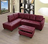 Beverly Fine Funiture Sectional Sofa Set, Burgundy