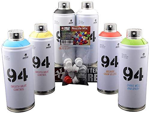 Set di bombolette spray MTN 94 Graffiti Art con colori di base nero e bianco, 6 x 400 ml + testine di ricambio