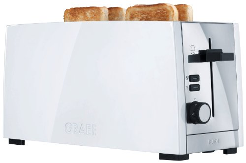 Gebr. Graef TO101EU 4 Scheiben Langschlitz Toaster, Edelstahl weiß