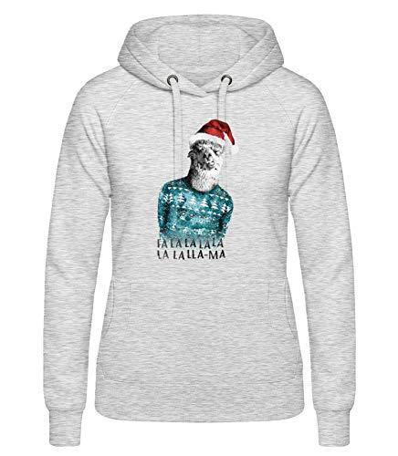 Shirtinator, Weihnachten Lama, Pullover Hoodie Damen, Geschenkideen Weihnachten Geburtstag, grau, L